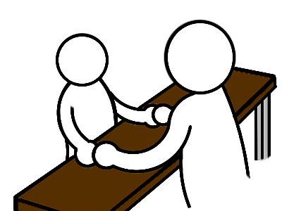 両手握手。