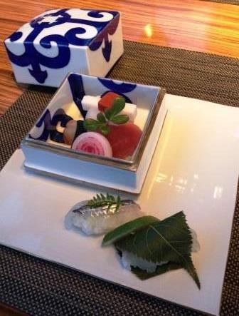 造り 寿司はライムと汐昆布で