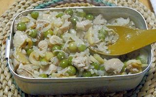 出来上がった鶏とグリーンピースの釜飯
