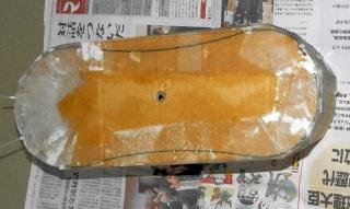 全体を和紙を張って乾かす(1回目)