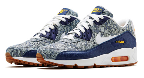 Dark Blue Crown Liberty Print Air Max 90 Trainers