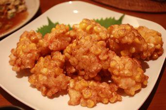 トウモロコシと海老の天ぷら