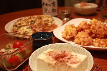 トウモロコシと海老の天ぷらの居酒屋ごはん