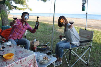 2014鉢ヶ崎キャンプめしすき焼きでカンパイ