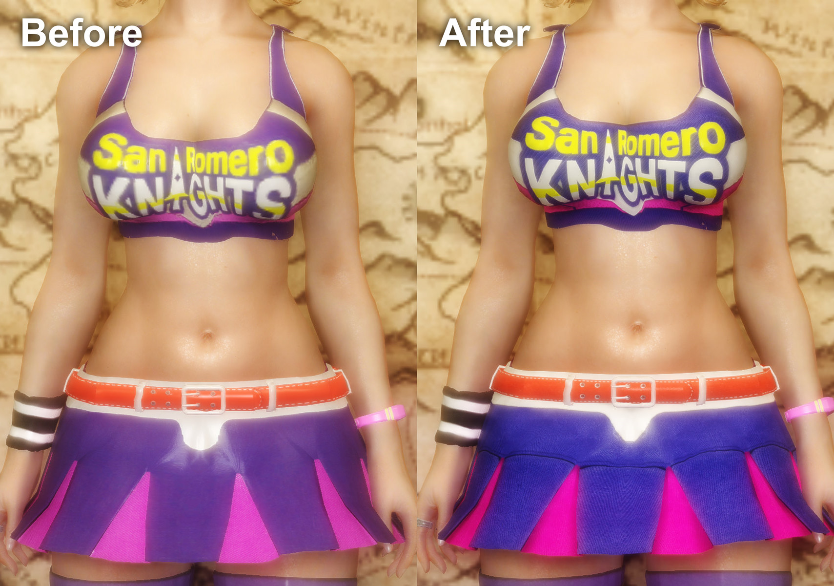 Lollipop Chainsaw Juliet Outfits - Retexture Before&After1
