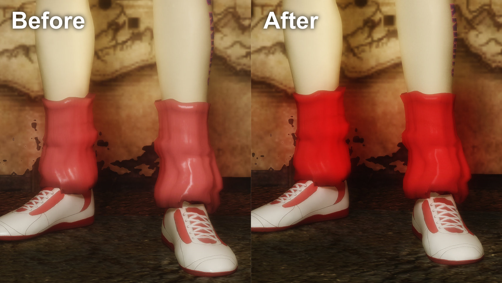 Lollipop Chainsaw Juliet Outfits - Retexture Before&After2