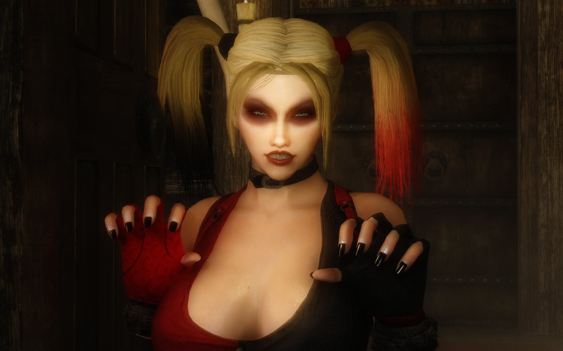 Harley Quinn White Face & Black Nails