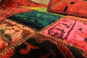 ペルシャコラージュ ラグ 玄関マット 絨毯 90×60 ウール