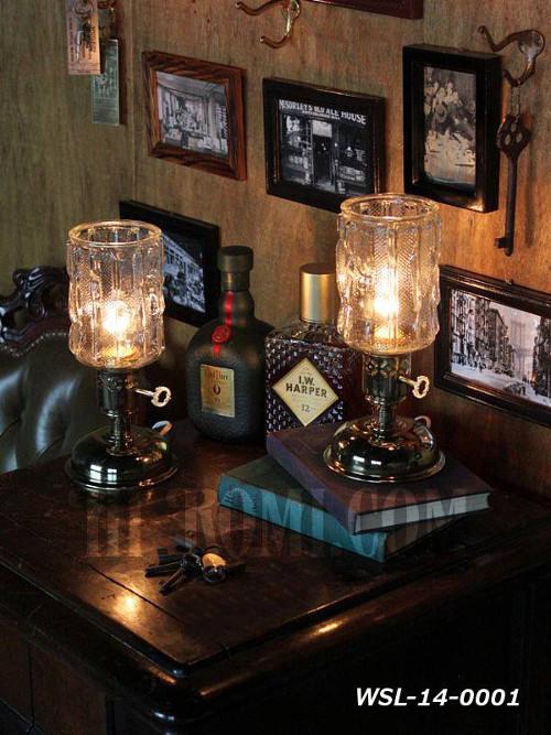 USAヴィンテージアイスグラスシェード&鍵スイッチ付きテーブルランプA/アンティークミッドセンチュリー照明卓上ランプ/インダストリアル 店舗設計 輸入 製作 販売 リノベーション