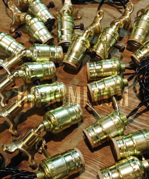 真鍮製ベース45度固定アルミソケットミニブラケット/インダストリアル工業系ライト照明ランプ