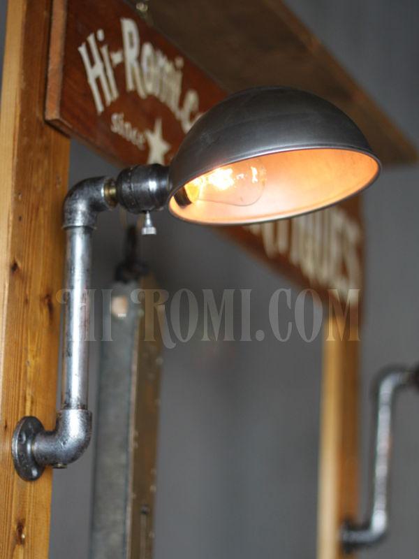 USAヴィンテージ工業系ラウンドシェード&ファットボーイソケット付きブラケットA/スチームパンクインダストリアルアンティーク照明壁掛ランプ