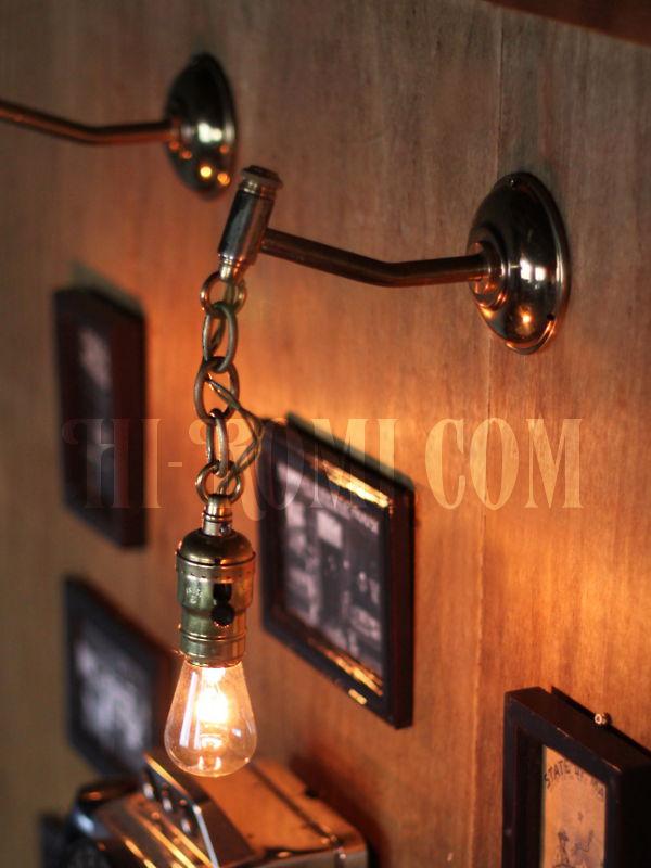 USAヴィンテージEAGLE社アルミ製ファットボーイソケットチェーン付きブラケットA/アンティーク工業系照明壁掛鎖ランプ