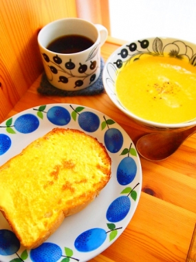 mayonnaise toast × pumpkin potage