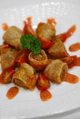 キムチとチーズの肉巻きレンジ蒸し1