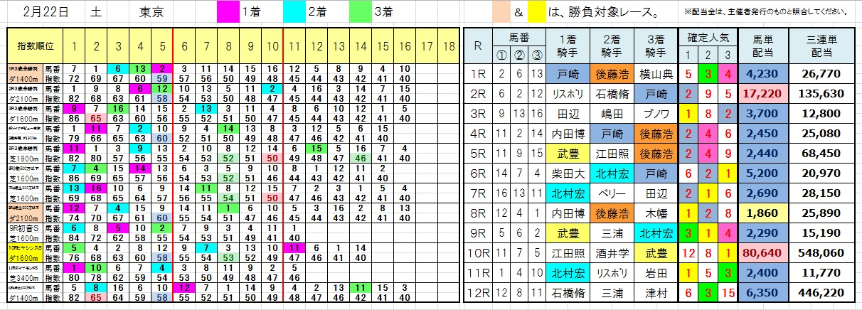 陽一・三連単・馬券・投資・負けない(今日の結果0222東京)