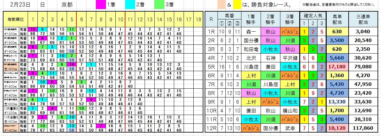 陽一・三連単・馬券・投資・負けない(0223京都)