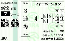 0518新潟7(日刊コンピ 馬券生活 的中 万馬券 三連単 札幌競馬)