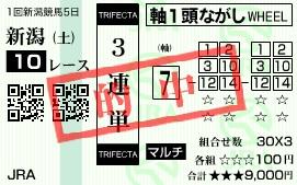 0517新潟10(日刊コンピ 馬券生活 的中 万馬券 三連単 札幌競馬)