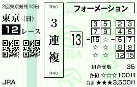 0525東京12(日刊コンピ 馬券生活 的中 万馬券 三連単 札幌競馬)