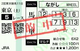 0531東京5(2)(日刊コンピ 馬券生活 的中 万馬券 三連単 札幌競馬)