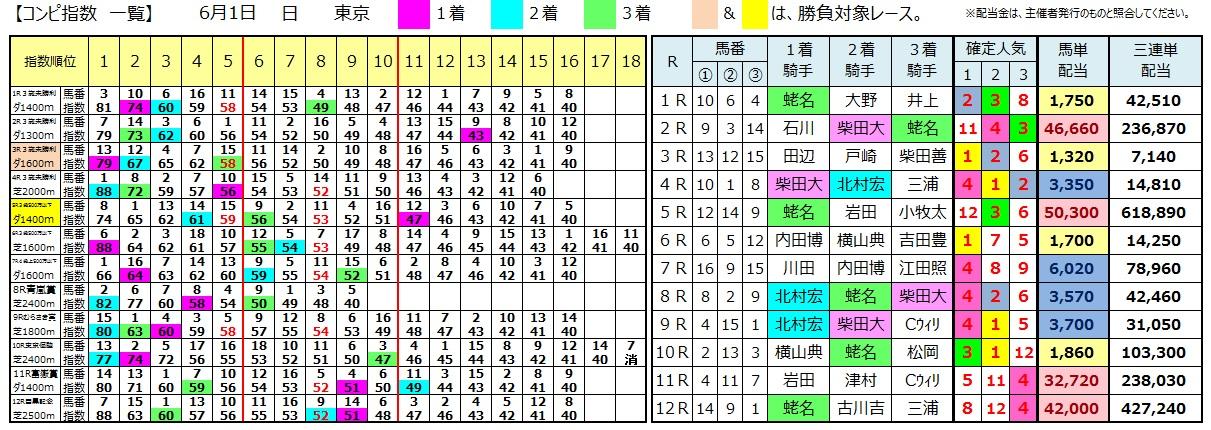 0601東京(日刊コンピ 馬券生活 的中 万馬券 三連単 札幌競馬)