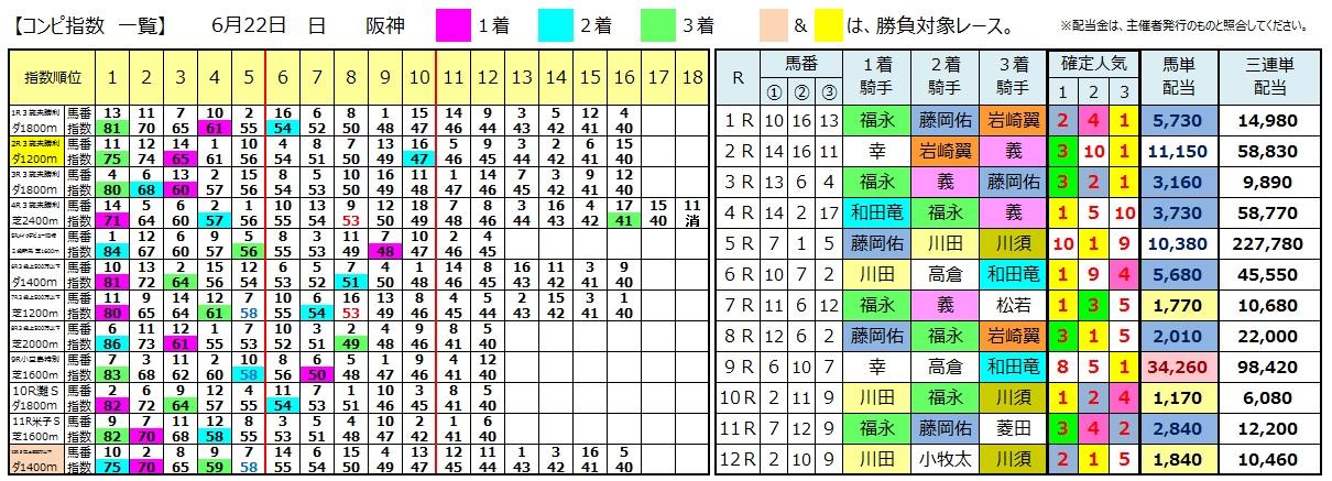 0622阪神(日刊コンピ 馬券生活 的中 万馬券 三連単 札幌競馬)