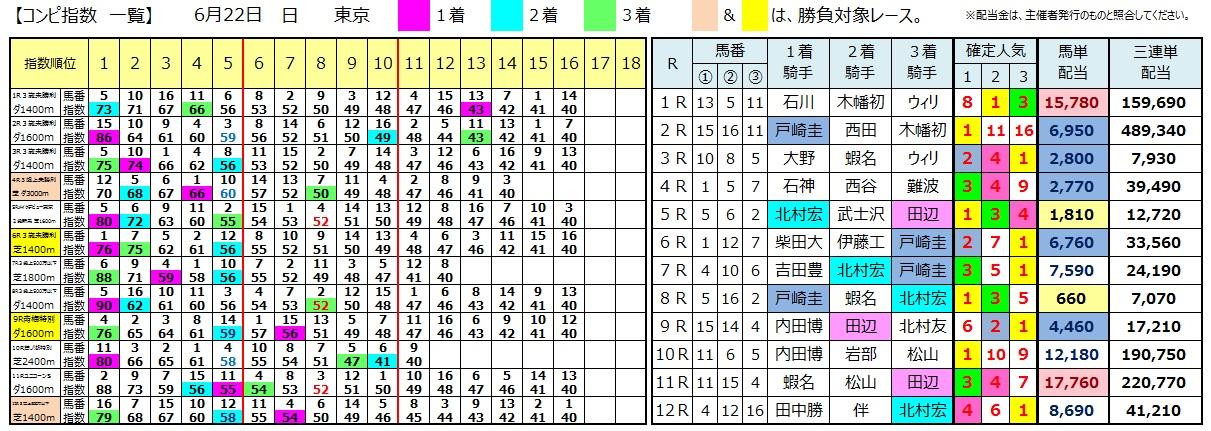 0622東京(日刊コンピ 馬券生活 的中 万馬券 三連単 札幌競馬)