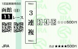 0629函館11(日刊コンピ 馬券生活 的中 万馬券 三連単 札幌競馬)