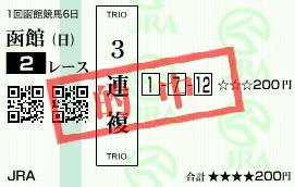 0629函館2(日刊コンピ 馬券生活 的中 万馬券 三連単 札幌競馬)