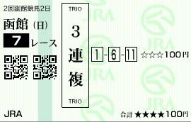 【馬券】0706函館7(日刊コンピ 馬券生活 的中 万馬券 三連単 札幌競馬)