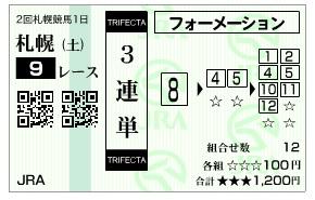 【馬券】0823札幌9(日刊コンピ 馬券生活 的中 万馬券 三連単 札幌競馬)