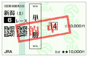 【的中馬券】0927新潟6(日刊コンピ 馬券生活 的中 万馬券 三連単 札幌競馬)
