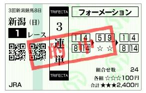 【的中馬券】1005新潟1(2)(日刊コンピ 馬券生活 的中 万馬券 三連単 札幌競馬)