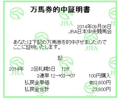 【万馬券獲得記録】0906札幌12