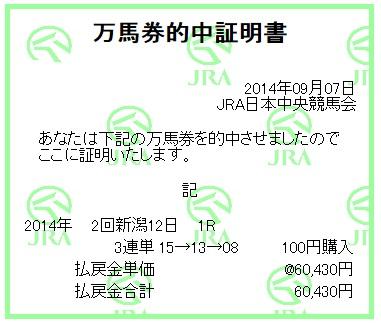 【万馬券獲得記録】0907新潟1