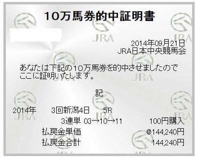 【万馬券獲得記録】0921新潟5