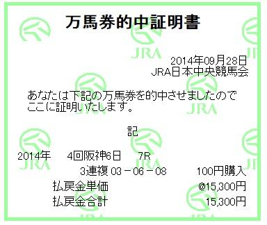 【万馬券獲得記録】0928阪神7(2)