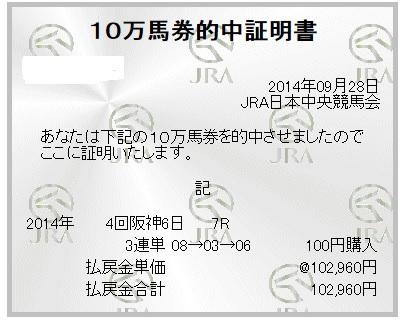 【万馬券獲得記録】0928阪神7