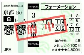 【的中馬券】1014京都8(日刊コンピ 馬券生活 的中 万馬券 三連単 札幌競馬)