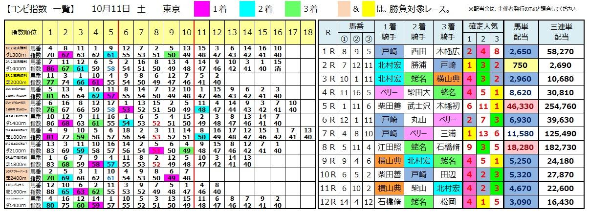 1011東京(日刊コンピ 馬券生活 的中 万馬券 三連単 札幌競馬)