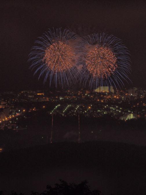藻岩山展望台から撮る真駒内花火大会