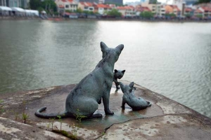 Kucinta, Singapura Cat sculptures by the Singapore river