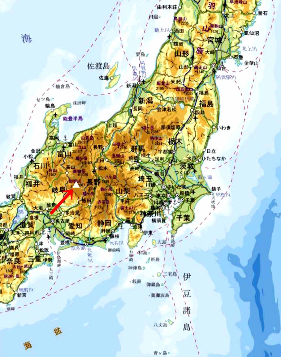 ★御嶽山 日本地図から