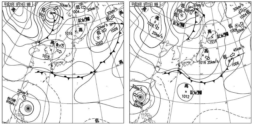 八ヶ岳訓練(0) 当日の天気図