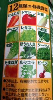 有機野菜ジュース成分