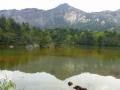 銅沼と磐梯山噴火口