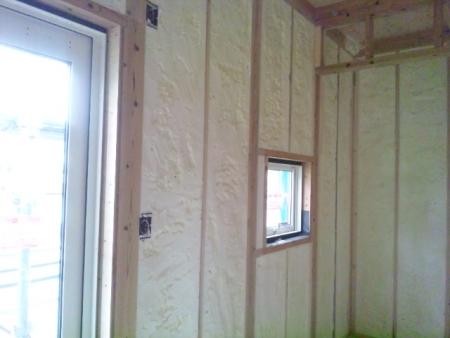 壁の断熱材カット