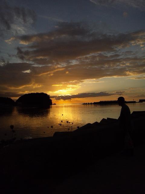 ライブ会場近くから見たウトロの夕陽。絶景!