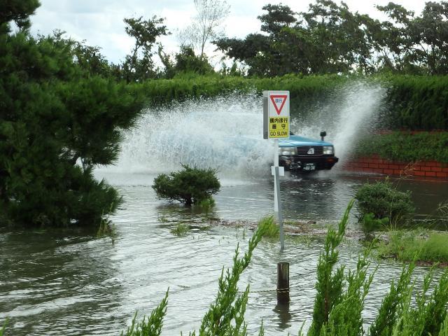 池が氾濫、冠水した道路