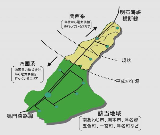 南あわじ市は四国電力からの電力供給エリア